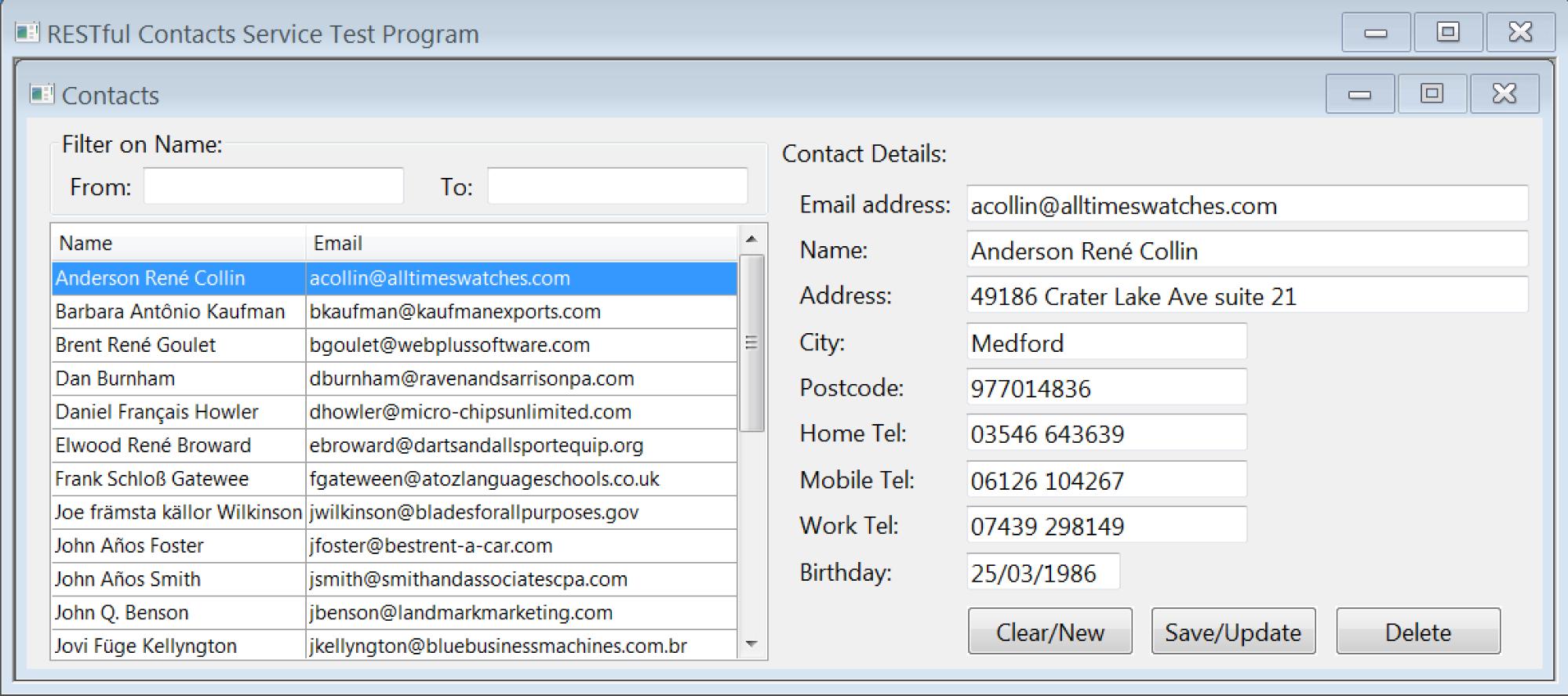 RESTful Contacts Service Test program